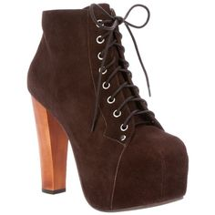 Jeffrey Campbell 'Lita' ankle boot (12.290 RUB) ❤ liked on Polyvore featuring shoes, boots, ankle booties, heels, jeffrey campbell, lace-up ankle boots, leather wedge booties, lace up booties, chunky heel booties and brown wedge booties