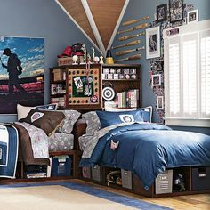 Baseball room. bats, baseball cards around the window, locker look storage boxes and the big pic over the bed