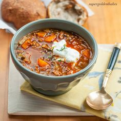 Greek Lentil Soup ~~ Called Fakes, Served with Rosemary & Walnut Rolls, Mmm, Mmm Comfort YUM !!
