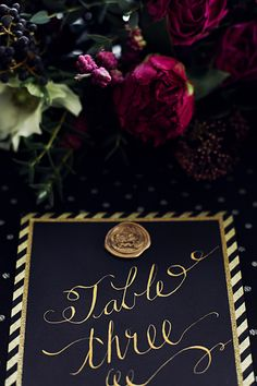 Black & Gold NYE Wedding: Stationery by Love by Phoebe featuring gold calligraphy.