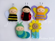 PDF Pattern: Garden Friends Felt Finger Puppets. $5.00, via Etsy.