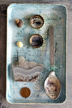 Mix+media+assemblage+natural+and+vintage+shadow+by+BelladonnaChic,+$25.00