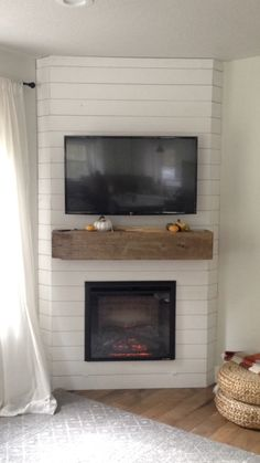 Fireplace Reveal- Our Electric Brick Fireplace - Nesting With Grace Our Painted White Brick Electric Corner Gas Fireplace, Built In Electric Fireplace, Fireplace Built Ins, Shiplap Fireplace, Small Fireplace, Bedroom Fireplace, Home Fireplace, Fireplace Remodel, Living Room With Fireplace