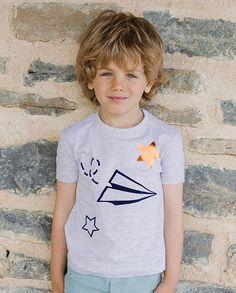 Camiseta avión gris | Corazón de león KIDS moda infantil