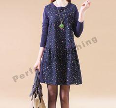 2014 Spring clothes Cotton dress cotton tops large size dress cotton blouse casual loose dress cotton shirt plus size dress - Blue