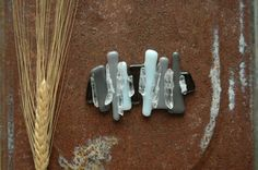 Grey Glass Gray Hair Barrette Crystal Hair Clip by AmbientAtelier