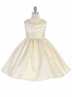 - Girls Dress Style 325 - Sleeveless Satin Dress with Pearl Neckline in Choice of Color - Ivory Flower Girl Dresses - Flower Girl Dresses - Flower Girl Dress For Less Toddler Flower Girl Dresses, Ivory Flower Girl Dresses, Satin Dresses, Girls Dresses, Flower Girls, Fit Flare Dress, Fit And Flare, Pearl Dress, Dresses For Less
