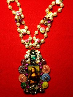 Mona Lisa Smile Statement Necklace Czech Glass by GirlyCutie #MonaLisa #MonaLisaSmile #StatementNecklace #Statement_Necklace #necklace #jewelry #accessory #handmade #handcrafted #fashion #unique #ButtonNecklace #lovely #love #style #beautiful #amazing #pearls #VintageButtons #buttons #Czech_buttons #resin #modern #ChunkyNecklace #chunky_necklace #bib_necklace #Pearl_chain #ruby_rhinestone #RhinestoneNecklace #rhinestones
