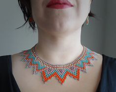 Peyote Beaded Mexican Orange Red and Turquoise by LucianaLavin