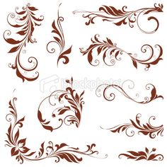 istockphoto 15 credits Stencil Painting, Tole Painting, Nouveau Tattoo, Gravure Laser, Flower Silhouette, Free Vector Art, Art Boards, Design Art, Floral Design