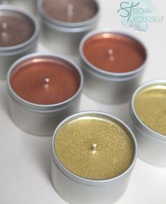 #DIYwedding - how to make hand poured glitter tin candles, perfect for favors or bridesmaid gifts... FREE label downloads!