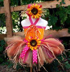 Sunflower Scarecrow Costume Tutu Set....Gold, Orange, Hot Pink, Chocolate...SEWN Tutu with Straw, Hot Pink Sunflower Bow, Halter Top on Etsy, $59.95