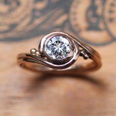Rose gold moissanite engagement ring rose gold, forever brilliant moissanite solitaire engagement ring moissanite, moissanite solitaire ring by StephanieMaslow on Etsy https://www.etsy.com/listing/267687535/rose-gold-moissanite-engagement-ring