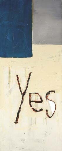 Martin Kippenberger, Untitled (Yes), 1981, oil, acrylic and thread on canvas, 180 x 75 cm