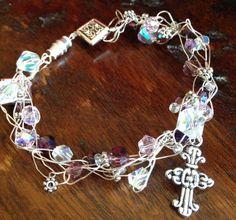 Hand Crocheted First Communion Bead Bracelet