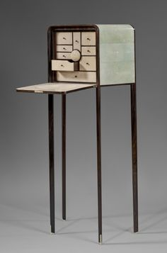 Ludwig Vogelgesang Art Deco Stingray Leather Cabinet