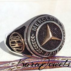 925 Sterling Silver Mercedes Benz Ring Unique Men's Jewelry free resizing #KaraJewels #Jewellery #mens #ring #sterling #silver #mercedes #benz