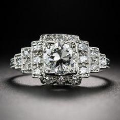.98 Carat Diamond and Platinum Art Deco Engagement Ring - Vintage Engagement Rings
