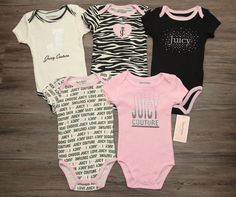 Juicy Couture Baby Girl 5 Piece Bodysuit Set ~ Pink, Black & Ivory ~ #JuicyCouture #Bodysuits #BabyGirl