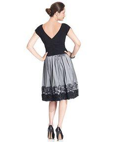 SL Fashions Dress, Short-Sleeve Ruched A-Line - Womens Dresses - Macy's
