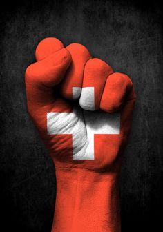 Swiss Flag on a Raised Clenched Fist Art Print by Jeff Bartels