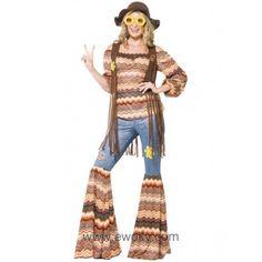 Disfraz de chica hippie para mujer 31,24€ Incluye camisa, pantalón y chaleco.
