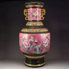 Chinese Pahua Famille Rose Gold-plated Porcelain Vase