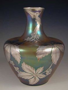 "Loetz Art Nouveau Irridescent Glass Vase with Silver Overlay, 1905, Marked ""Sterling"", Austria"