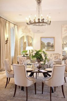 Dinning room option -- Classic Chic Home: Round Dining Room Table Elegant Dining Room, Luxury Dining Room, Dining Room Design, Dining Room Furniture, Dining Room Table, Dining Chairs, Room Chairs, Dining Area, Wood Table