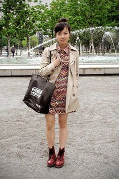 trench coat & dr. martens boots cherry beige outfit