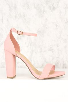 bfe437ccbc Pink Open Toe Single Sole Chunky Heels Nubuck Faux Leather