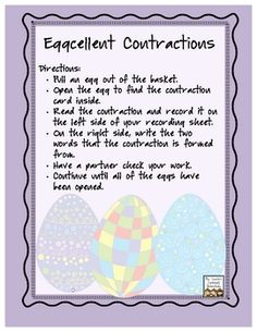 This is an Easter/Spring-themed activity that reviews contractions and the words that make them.Materials needed: basket or bucket, plastic eas...