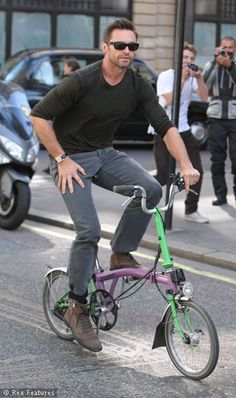 Hugh Jackman Riding A Brompton Folding Bike