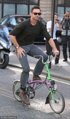 Hugh Jackson riding a Brompton Folding Bike