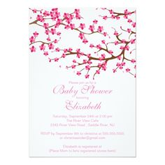 Pretty Pink Cherry Blossom Floral Baby Shower 5x7 Paper Invitation Card