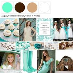 .{Barn Chic 'I Do's}: A Palette of Aqua, Chocolate brown, Camel & White