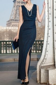 High Slit Maxi Evening Dress