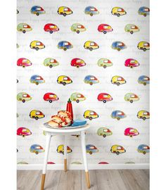 This wallpaper was inspired by Paula Coop McCrory's children, who are also known as her 'happy campers'. Inspired to preserve their childlike sense of adventure, she designed Happy Camper to add color and fun to your home. Camper Wallpaper, Interior Wallpaper, Wallpaper Ideas, Makeover Before And After, Rustic Wood Walls, Traditional Wallpaper, Burke Decor, Mold And Mildew