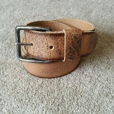 Cowboys Belt Genuine Brown Leather Belt Size Small CowboysBelt 'Special Basics'. Genuine Brown Leather women's Belt. Size Small. Style: 43078. Color: 270 beige. Intentional distressed look. Hand Made in the Netherlands. In perfect condition! Feel free to ask any questions. MAKE ME AN OFFER! FREE GIFT with every purchase! Bundle for further discounts. CowboysBelt Accessories Belts