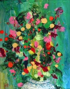 "Saatchi Art Artist Briana Lyon; Painting, ""Post-War Chinoiserie Flowers II"" #art"