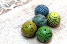 Colorful Bead set for jewelry making Polymer Clay Hand Carved Beads by OrlyFuchsGalchen