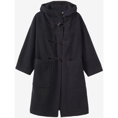 BOILED WOOL DUFFLE COAT (3.985 NOK) ❤ liked on Polyvore featuring outerwear, coats, boiled wool coat, duffle coat, hooded coat, hooded duffle coats and button coat