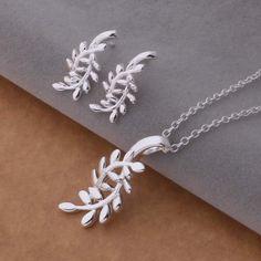 AS291 Hot 925 sterling Perhiasan perak Set Anting-Anting 445 + Kalung 168/alnajcua asaajjha