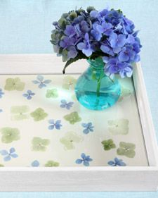 Hydrangea Tray...Brighten up a serving tray with hydrangea florets and decorative paper. #diy