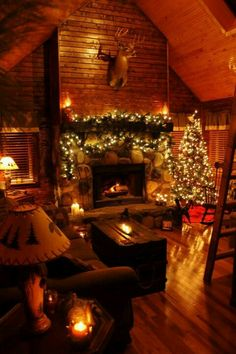 5 Best Decor Ideas for Your Fireplace – Voyage Afield Christmas Fireplace, Cozy Christmas, Rustic Christmas, Cabin Christmas Decor, Xmas, Christmas Photos, Beautiful Christmas, Christmas Lights, Cozy Cabin