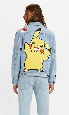 Levi's® X Pokémon Vintage Fit Trucker Jacket - Light Indigo   Levi's® DE Levis, Pokemon Patch, Pikachu Hoodie, Boyfriend Jeans Style, Pokemon Collection, Fashion Forward, Jackets, Clothes, Fashion Styles