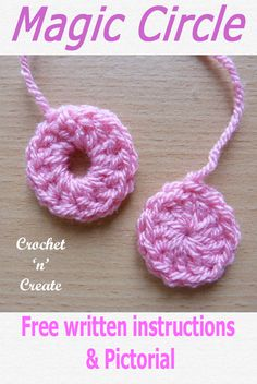 Crochet Magic Circle Free Crochet Pattern - - A crochet magic circle is a neat way to work in the round, unlike the regular chain loop which leaves a hole in the center, the magic way works by using the loop to close the center hole. Crochet Magic Circle, Magic Ring Crochet, Crochet Circles, Crochet Round, Double Crochet, Easy Crochet, Easy Knit Hat, Learn To Crochet, Crochet Stitches For Beginners