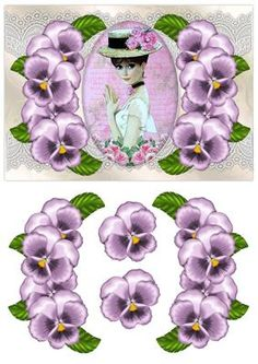 Elegant Pansys Lace Parisian Beauty on Craftsuprint designed by Marijke Kok - Very beautiful design with lavender pansys and a gorgeous parisian girl ,for any occasion - Now available for download!