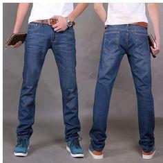 Fashion Men's Jeans Casual Jean Trousers Straight Denim Jeans Blue Color Famous Brand Biker Jeans, 100% Cotton, Size 38 #Affiliate