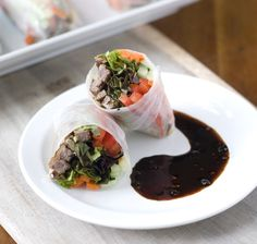 Lunch has never tasted better with steak and veggies wrapped in a rice wrapper, serve these with a red wine reduction. Wine Recipes, Asian Recipes, Beef Recipes, Real Food Recipes, Yummy Food, Real Foods, Healthy Recipes, Fun Food, Gourmet